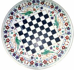 "24"" Marble Chess Game Table Top Semi Precious Stones Inlay F"