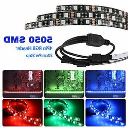 3Pcs RGB Gaming LED Strip Lights Case Lighting w/4pin Hub Ad