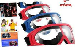 4 Pairs Protective Goggles Safety Glasses Eyewear for Teens