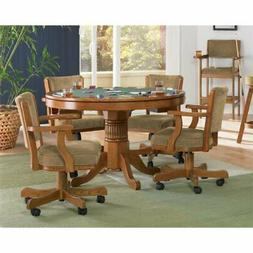 Bowery Hill 5 Piece 3-in-1 Game Table Set in Oak