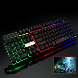 7 Colors Crack LED Illuminated Backlit USB Wired PC Rainbow