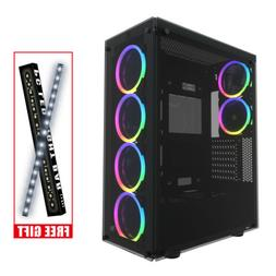 ATX Mid Tower Gaming PC Case,darkFlash Phantom,Black with 6p