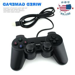 2 x Black USB Dual Shock PC Computer Wired Gamepad Game Cont