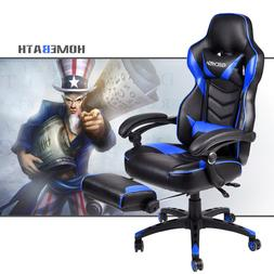 Blue Gaming Chair Video Computer Racing Recliner Office PU L