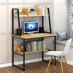 Computer Desk With Shelves Writing Laptop Table Learn Monito