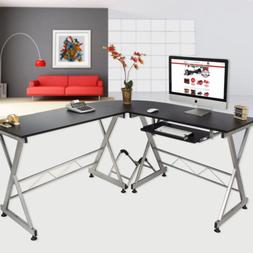 Computer Gaming Desk Wood Steel L-Shape Corner Laptop Table