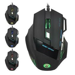 Computer Gaming Mouse DPI 7 Button USB LED Light Optical Wir