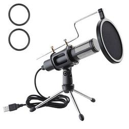 Condenser USB Microphone w/ Tripod Stand for Game Chat Studi