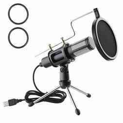 Condenser USB Microphone w/ Tripod Stand for PC Game Chat St