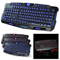 3 Color LED Backlight Gaming Keyboards Wired USB Illuminated