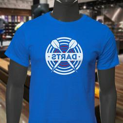 DARTS BOARD TARGET THROWING SPORT TEAM GAMING Mens Blue T-Sh