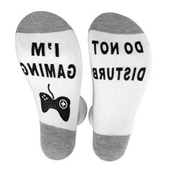 'Do Not Disturb I'm Gaming'Funny Socks Novelty Socks Crazy