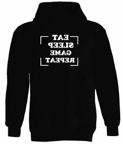 EAT SLEEP GAME REPEAT HOODIE MEN WOMEN HIPSTER FUNNY GIFT HO