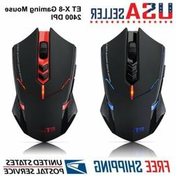 ET X-8 2.4G Wireless Gaming Mouse 7-Button LED Backlight Adj