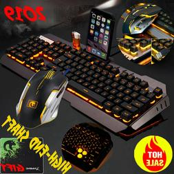 Gaming Keyboard and Mouse Mechanical Feel and Mouse Pad LED