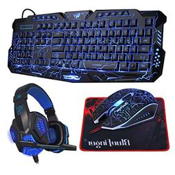 BlueFinger Backlit Gaming Keyboard Mouse Combo with LED Gami