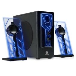 Gaming System Speakers Subwoofer Laptop Desktop Music LED Bl