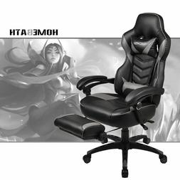 Gray Video Computer Gaming Chair Racing Style PU Leather Erg