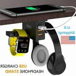 Headphone Stand with USB Charger Desktop Gaming Headset Hold