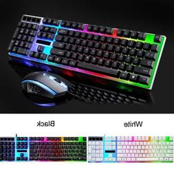 Keyboard and Wired Mouse Set LED Mechanical Gaming Rainbow C