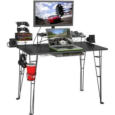 33935701 computer gaming desk black carbon fiber