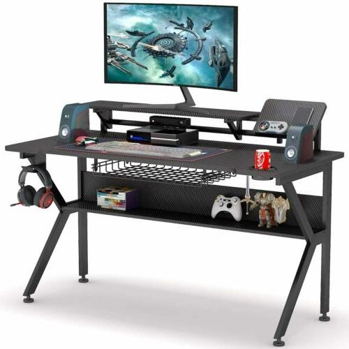 Ergonomic Gaming Desk with Monitor Stand, 47 inch K-Shaped C