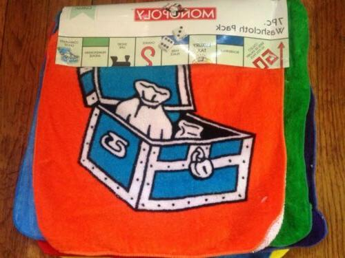 7 piece monopoly game novelty wash cloth