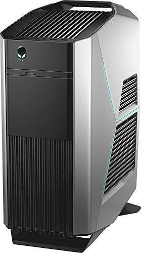 Alienware AWAUR6 Performance Flagship VR Gaming Desktop PC, Quad-Core DDR4, HDD, Dedicated AMD RX480 Graphics, DVD, Silver