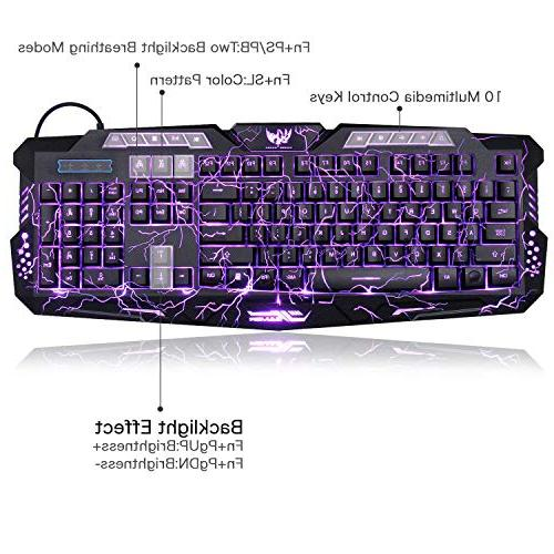 Gaming Computer Keyboard Wired LED 3 Color Backlit Gamer lighted with Customized