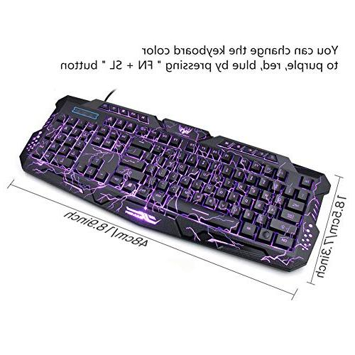 Computer Keyboard USB Wired LED 3 Color Backlit Gamer lighted with