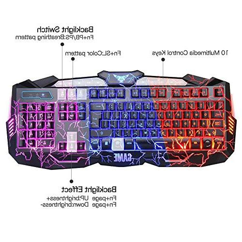 Gaming Combo USB Wired Lighted 3 Blue/Red/Purple LED Backlit Keyboard for Gamer Office