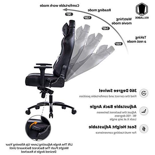 KILLABEE and 400lb Memory Foam Gaming Chair - Adjustable Arms High-Back Leather Racing Office Black