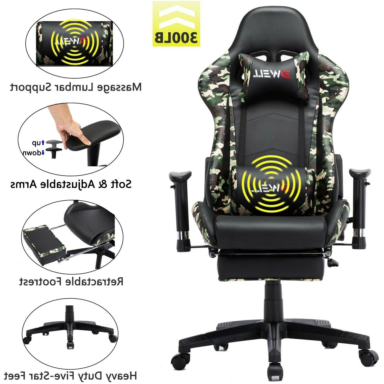 Ergonomic Chair with Footrest Lumbar Massage Support