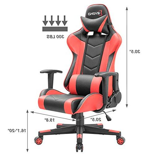 Devoko Gaming Chair Racing Style Adjustable Height High-Back PC Computer Chair with Support