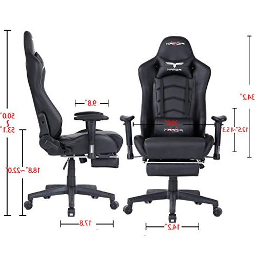 Ficmax Ergonomic Large Size Office Desk Swivel Black PC Chair with Lumbar Support Footrest