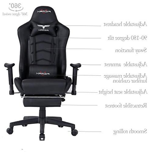 Ficmax Ergonomic High-Back Large Size Swivel Black Gaming Chair Lumbar Support and Retractible Footrest