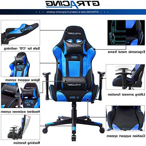 GTRACING Gaming Chair Adjustable E-Sports Chair Ergonomic Computer with Pillows