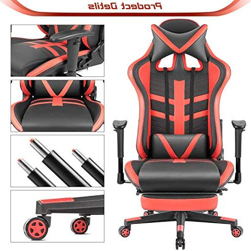 Homall Chair High-Back Leather Bucket Office Chair Headrest and Lumbar Chair with Footrest