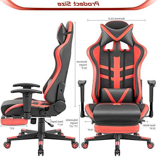 Homall Gaming Chair Leather Seat,Computer Swivel Office Headrest Lumbar Chair with Footrest