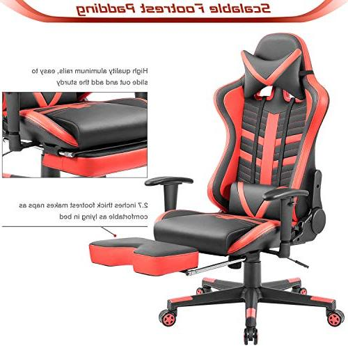 Homall Gaming High-Back Racing Chair Leather Office Lumbar Executive Chair with Footrest