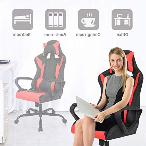 Gaming Chair Office Leather Desk Chair Rolling Headrest Women, Men