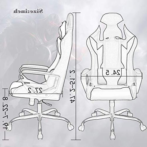 Gaming Chair Racing Chair Office Leather Desk Executive Rolling Chair with Adjustable Headrest Support for Women,