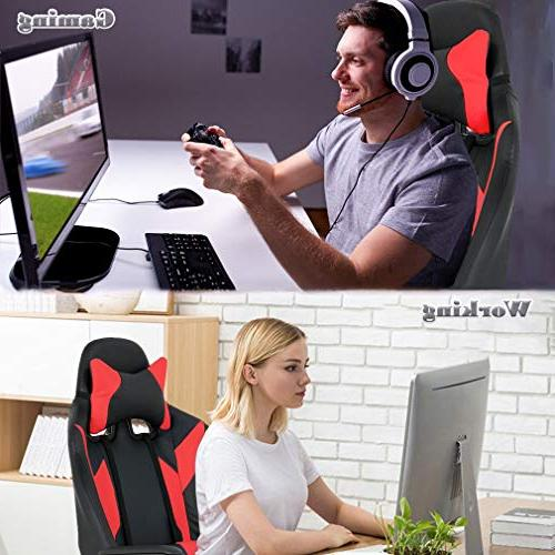 Gaming Office Desk Chair Rolling with Adjustable Headrest Women,