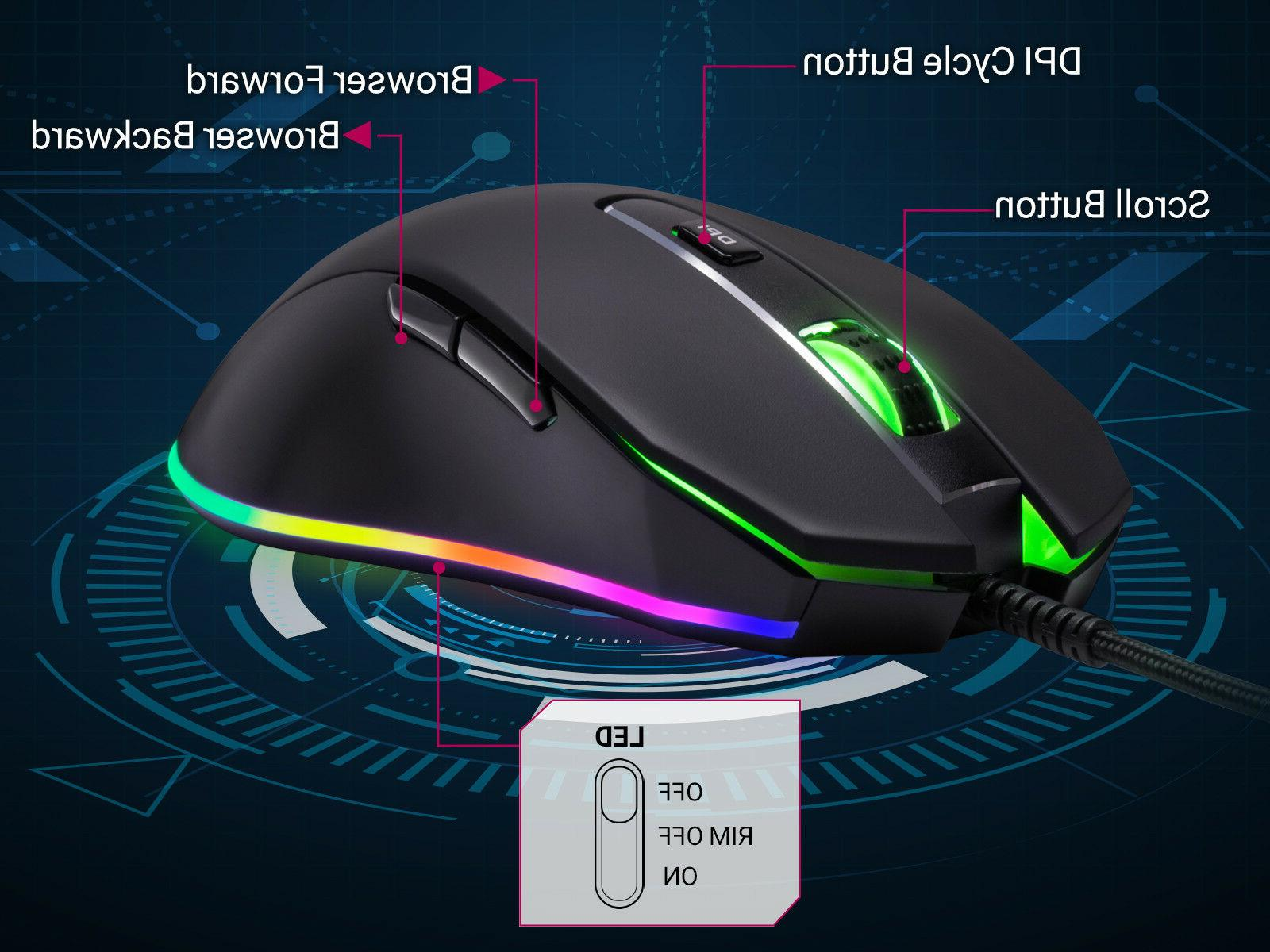 Rosewill Gaming Mouse dpi, Wired Gaming Mouse NEON M59