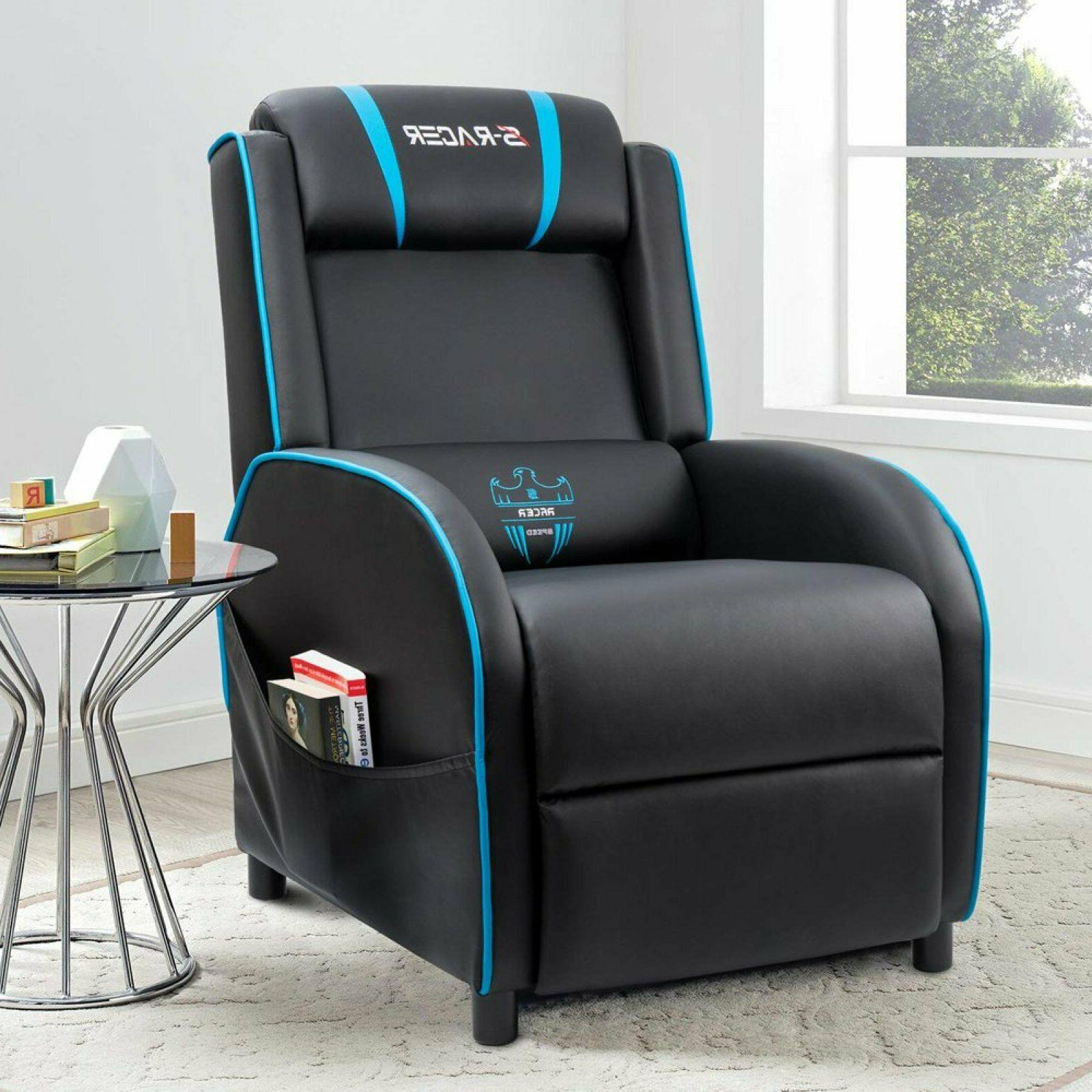 Homall Gaming Recliner Chair with PU Leather, Black/Blue