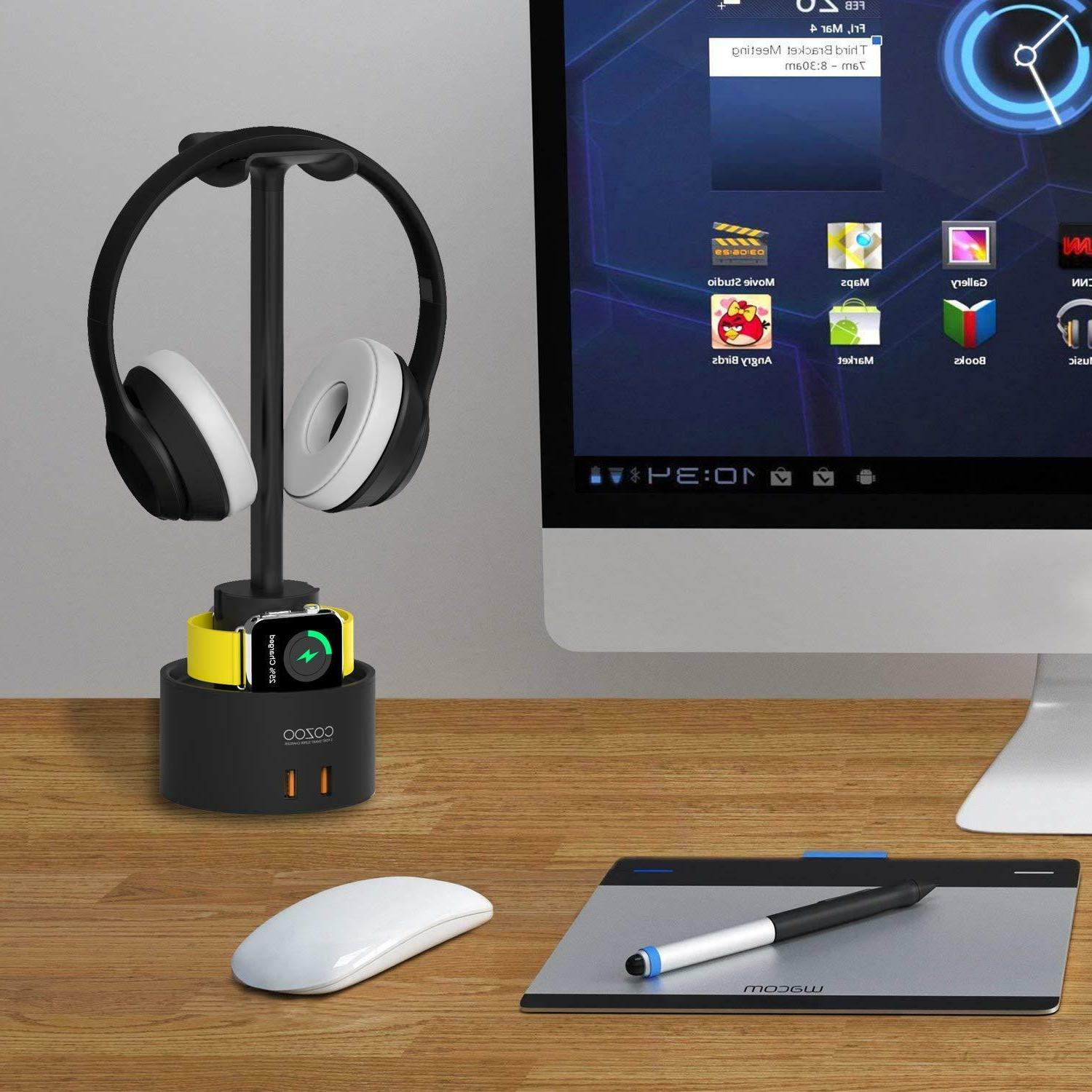 Headphone Stand with USB Charger COZOO Headset