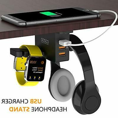 headphone stand with usb charger under desk