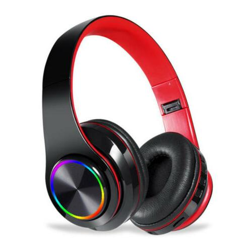 led wireless bluetooth gaming headset over ear