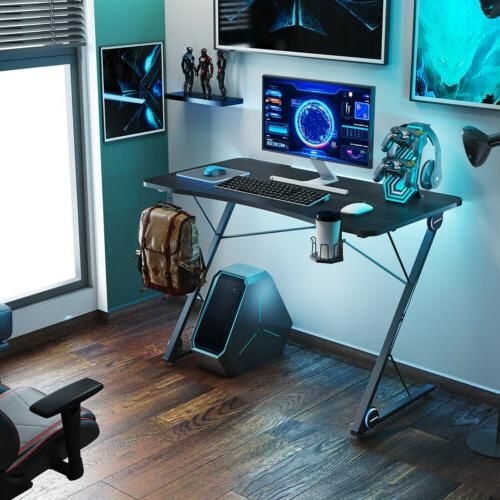 Gaming Desk Racing  w/ LED Light &Cup Holder Z-Shaped Home C