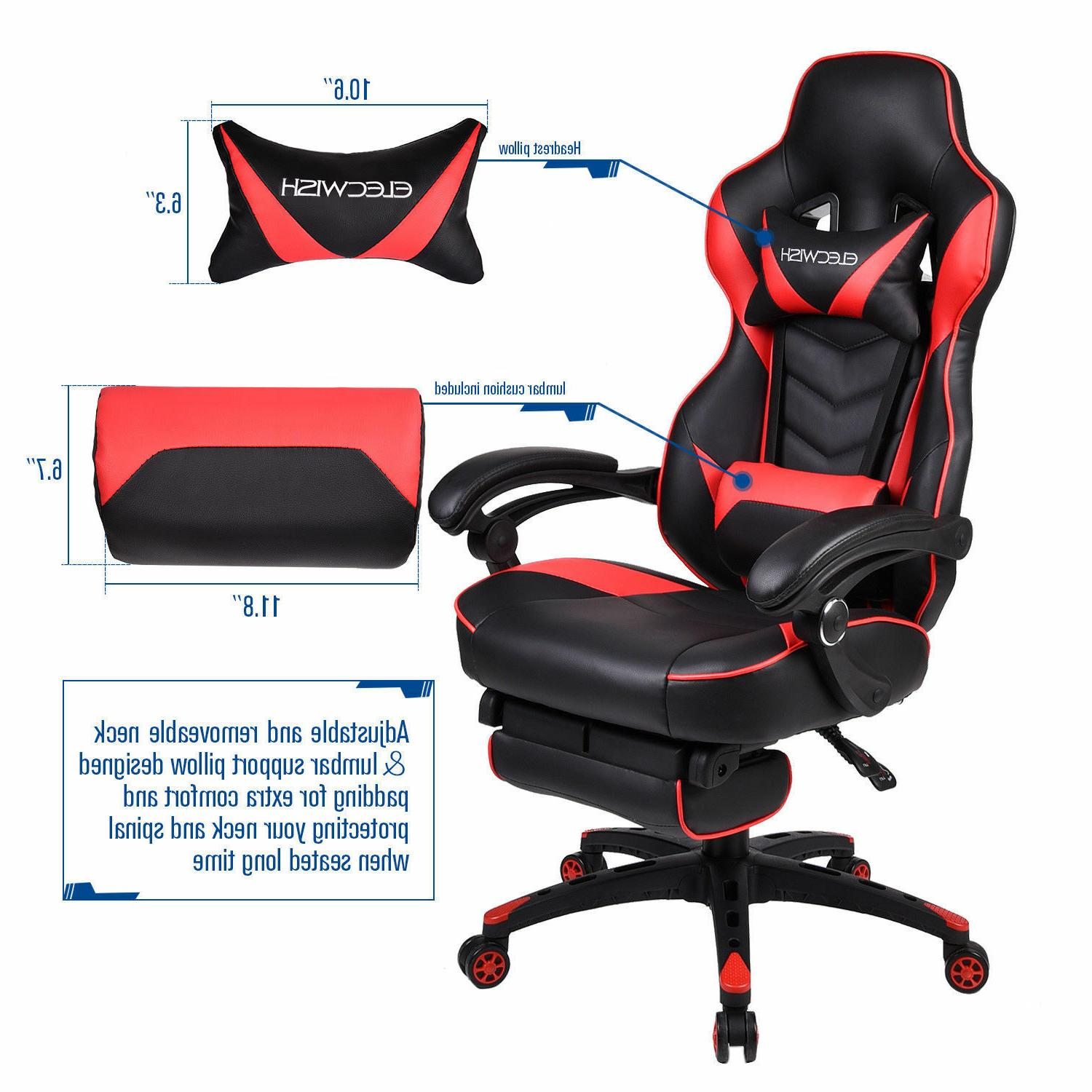 Office Chair Racing Ergonomic High Back Seat Red US